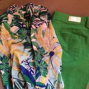 Women's tank outfit with Green Pants
